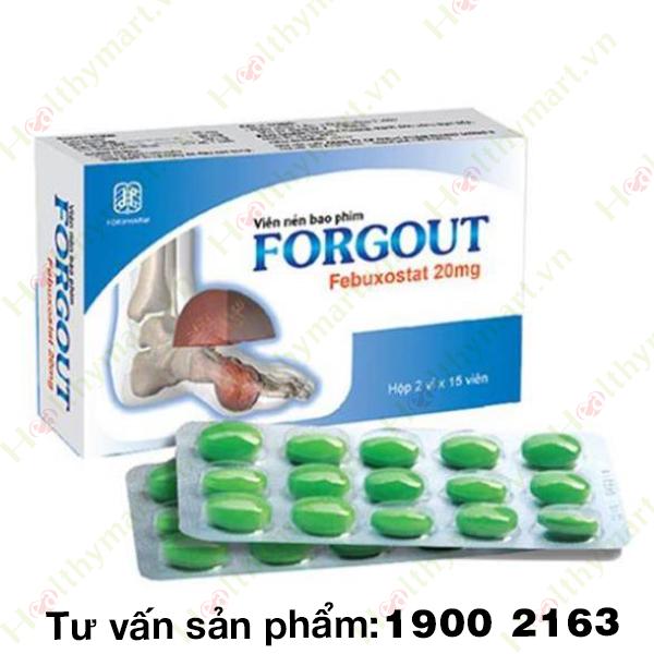 FORGOUT FEBUXOSTAT 20MG - hạ Acid Uric trong máu, giúp giảm sưng nóng đỏ đau các khớp